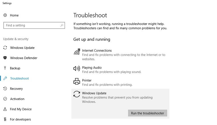 win update troubleshooter