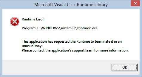 atibtmon.exe runtime error on windows 10