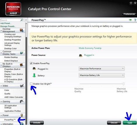catalyst control disable vari-light