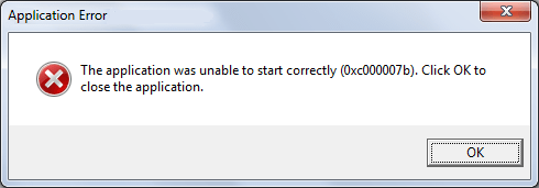 The application was unable to start correctly Issue