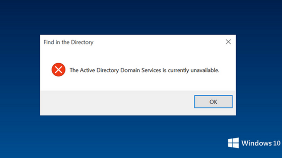 active directory domain services unavailable error