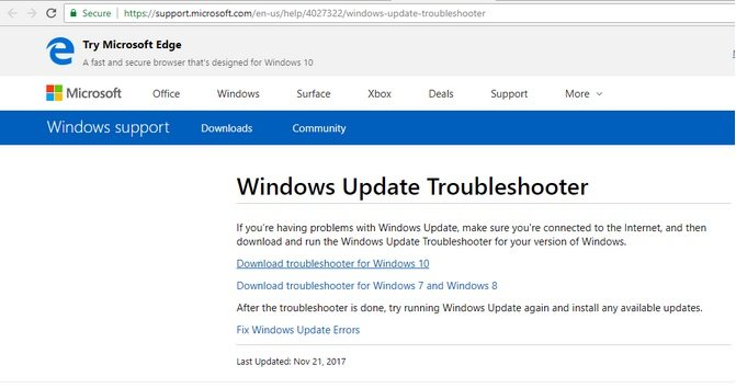 Update Failed, Undoing Changes Error