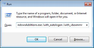 The image shows the Windows Run dialog with the command for installing the guest additions.