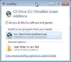 The image shows the VirtualBox Guest Additions Autoplay Window.