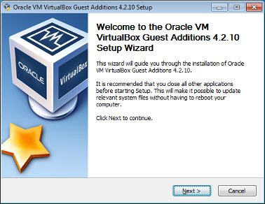The image shows the initial screen of the VirtualBox Guest Additions Setup wizard