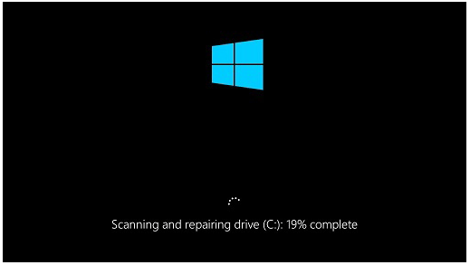 Scanning and repairing drive stuck