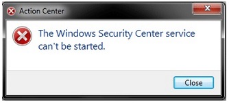 Windows Security Center Service Can't Be Started