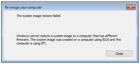 Fix System Image Restore Failed on Windows