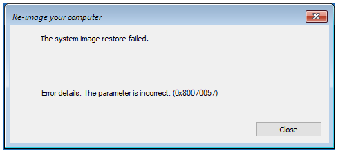 System Image Restore Failed
