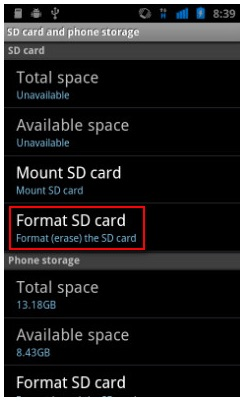 micro sd card not formatted