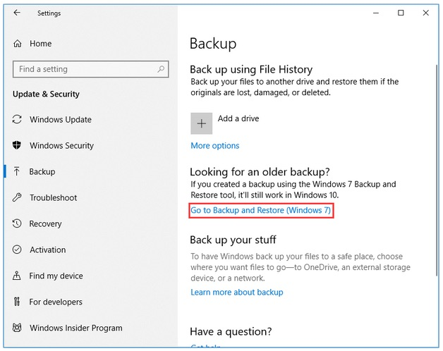 Recovery Options on Windows 10