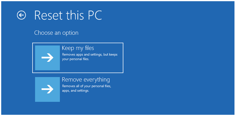 recovery option on windows 10