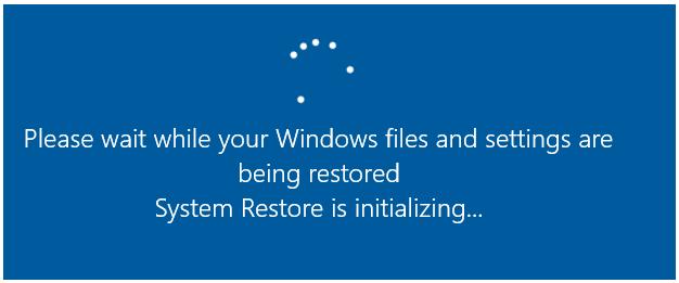 system restore stuck