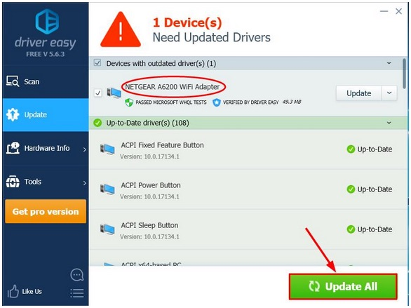 update netgear a6200 driver automatically