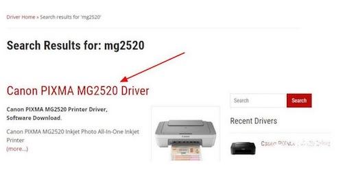 search canon mg2520 driver