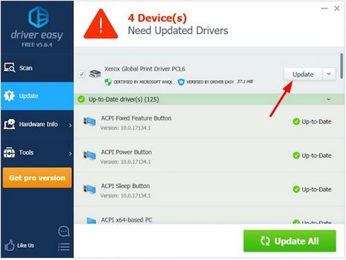 xerox v4 printer driver update